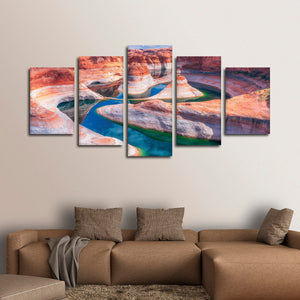 Grand Canyon River Multi Panel Canvas Wall Art - Nature