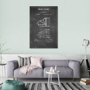 Grand Piano Patent BW Canvas Wall Art - Piano