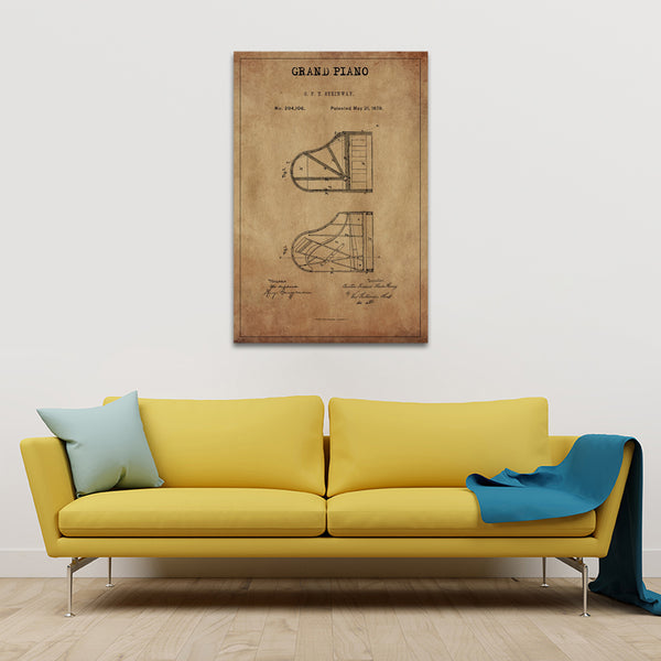 Grand Piano Patent Canvas Wall Art | ElephantStock