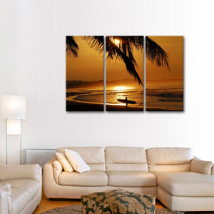 Seas the Day Multi Panel Canvas Wall Art - Surfing