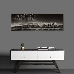 Grand Tetons Panorama BW Multi Panel Canvas Wall Art - Nature