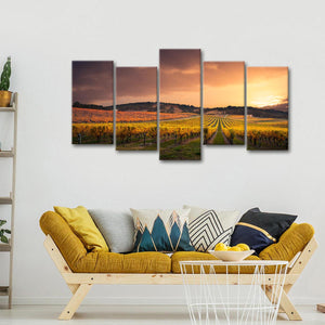 Grape Valley Sunset Multi Panel Canvas Wall Art - Winery