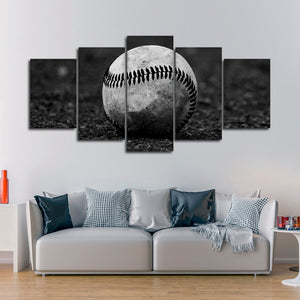 Grayscale Baseball Multi Panel Canvas Wall Art - Baseball