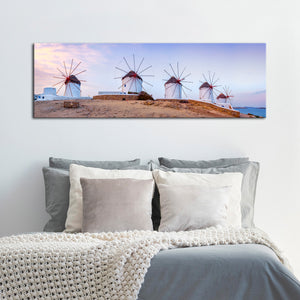 Greek Windmills Multi Panel Canvas Wall Art - City