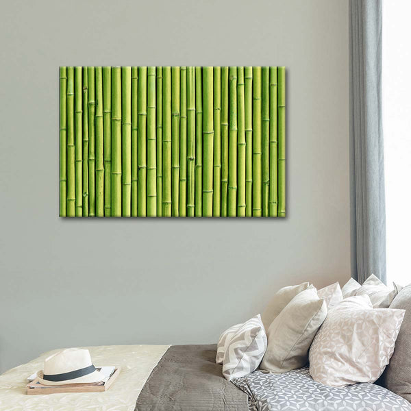 Green Bamboo Fence Multi Panel Canvas Wall Art | ElephantStock