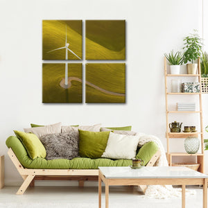 Green Energy Multi Panel Canvas Wall Art - Windmill