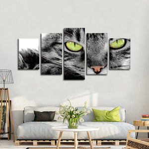Green Eye Cat Multi Panel Canvas Wall Art - Cat