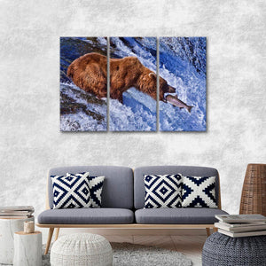 Grizzly Hunt Multi Panel Canvas Wall Art - Animals