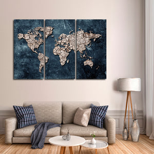 Ground Map Multi Panel Canvas Wall Art - World_map