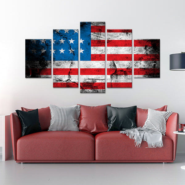 Grunge American Flag Multi Panel Canvas Wall Art