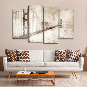 Grunge Golden Gate Bridge Multi Panel Canvas Wall Art - Bridge