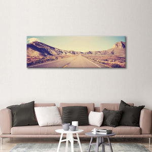 Grunge Mountain Road Multi Panel Canvas Wall Art - Nature