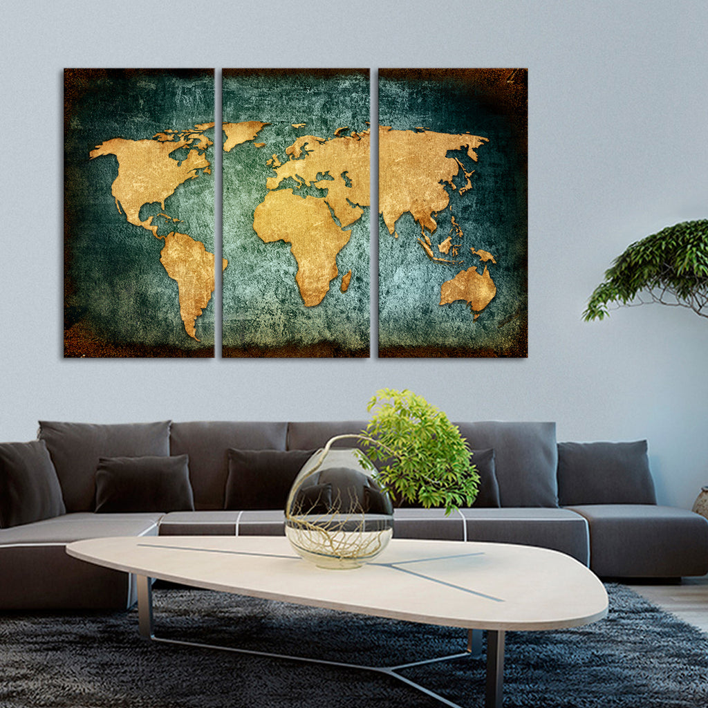 grunge world map multi panel canvas wall art elephantstock. Black Bedroom Furniture Sets. Home Design Ideas