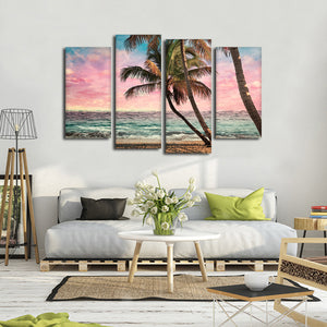 Grunge Tropical Sunset Multi Panel Canvas Wall Art - Beach