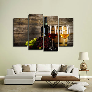 Grunge Wine Multi Panel Canvas Wall Art - Winery