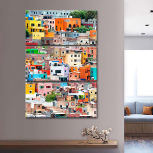 Guanajuato Colorful City Multi Panel Canvas Wall Art - Mexico