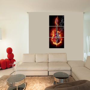 Guitar on Fire Multi Panel Canvas Wall Art - Guitar