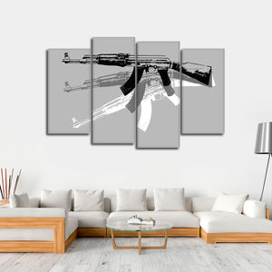 Gun Pop Art BW Multi Panel Canvas Wall Art - Guns