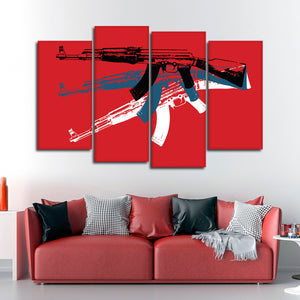 Gun Pop Art Multi Panel Canvas Wall Art - Guns