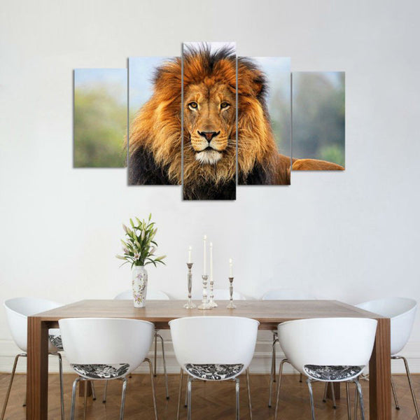 Lionu0027s Fame Multi Panel Canvas Wall Art