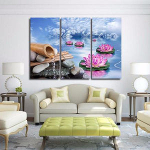 Lotus Calmness Multi Panel Canvas Wall Art - Buddhism