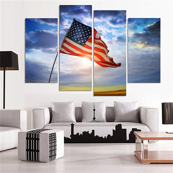 Flag In The Wind Multi Panel Canvas Wall Art