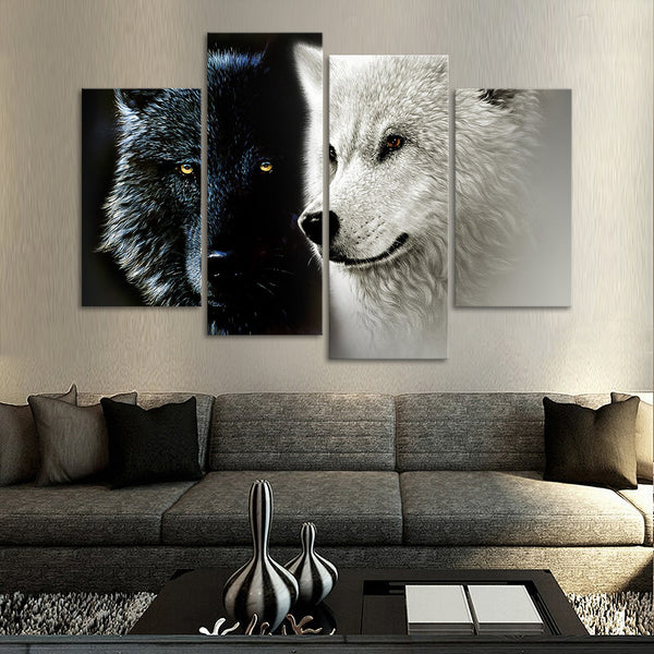 Black and White Wolf Multi Panel Canvas Wall Art