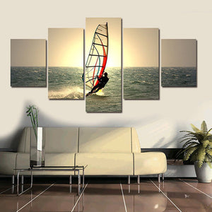 Windsurfing Multi Panel Canvas Wall Art - Surfing