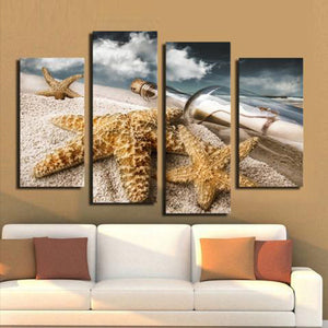 Message In A Bottle Multi Panel Canvas Wall Art - Beach
