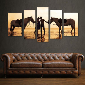 Kiss At Sunset Multi Panel Canvas Wall Art - Relationship