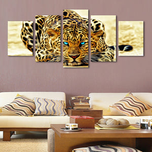 Blue Eyed Jaguar Multi Panel Canvas Wall Art - Animals