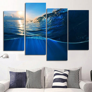 Into The Wave Multi Panel Canvas Wall Art - Surfing