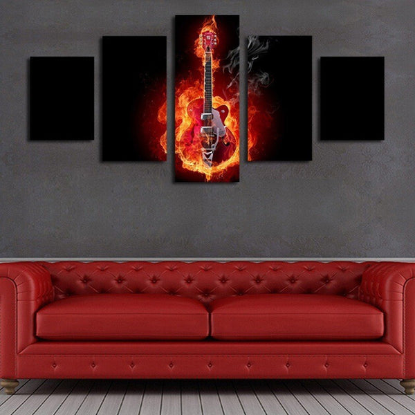 Burning Guitar Multi Panel Canvas Wall Art