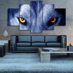 Yellow Eye Wolf Multi Panel Canvas Wall Art - Wolf
