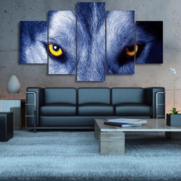 Yellow Eye Wolf Multi Panel Canvas Wall Art