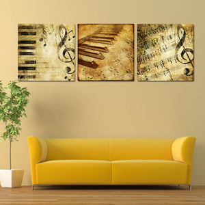Music Note Canvas Set Wall Art - Music