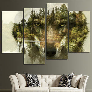 Camouflage Wolf Multi Panel Canvas Wall Art - Wolf