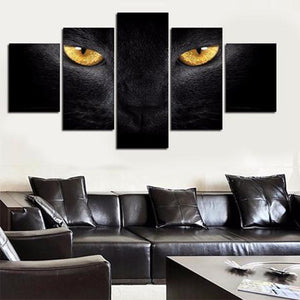 Yellow Eyed Cat Multi Panel Canvas Wall Art - Cat