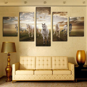 White Horses Multi Panel Canvas Wall Art - Horse