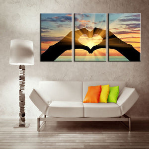 Love at Sunset Multi Panel Canvas Wall Art - Relationship