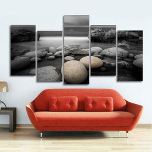 Pebbles Multi Panel Canvas Wall Art - Beach