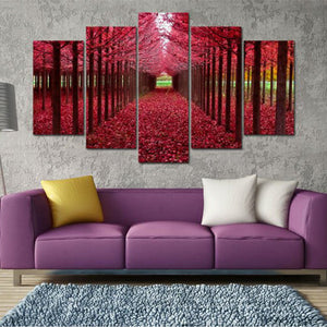 Red Forest Multi Panel Canvas Wall Art - Nature