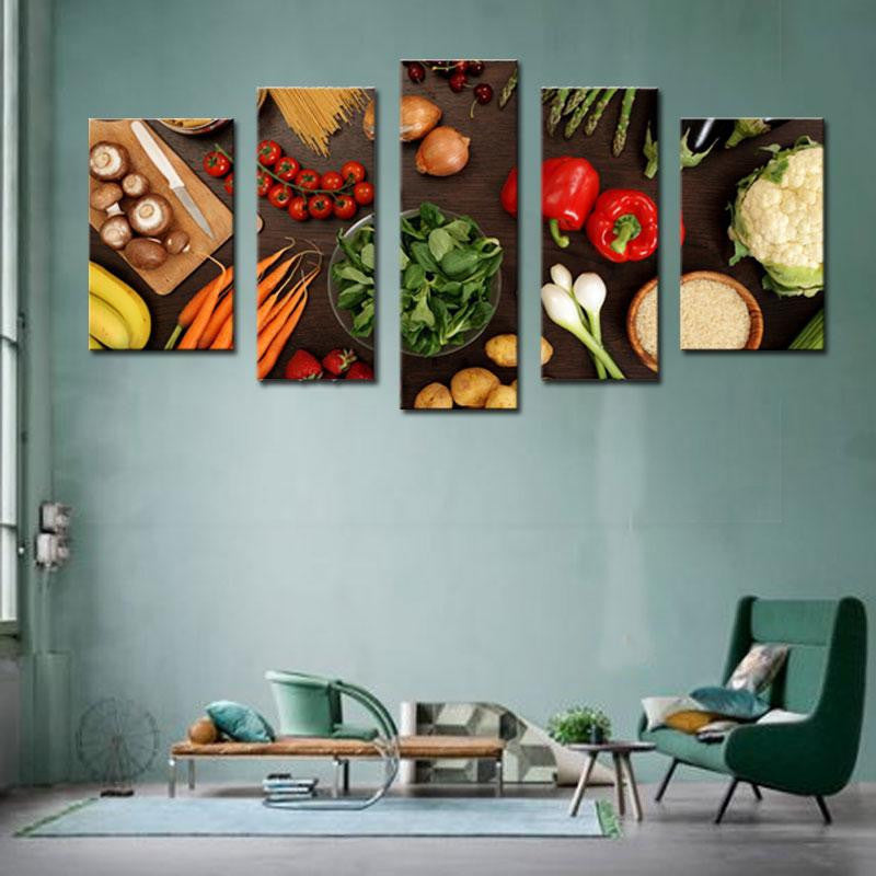 Vegetable Ingredients Multi Panel Canvas Wall Art   Kitchen