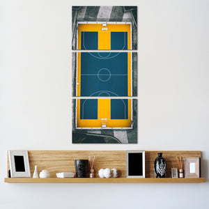 Basketball Court From Above Multi Panel Canvas Wall Art - Basketball