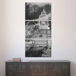 Vintage Birdcage BW Multi Panel Canvas Wall Art - Shabby_chic