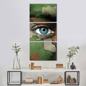 Camouflage Eye Multi Panel Canvas Wall Art - Army