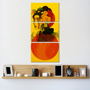 Red Sun Geisha Multi Panel Canvas Wall Art - Graffiti