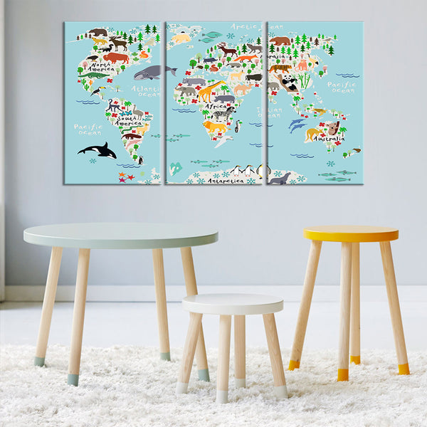 Baby blue world map multi panel canvas wall art elephantstock baby blue world map multi panel canvas wall art gumiabroncs Choice Image