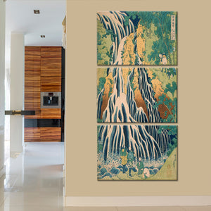 Pilgrims At Kirifuri Waterfall Multi Panel Canvas Wall Art - Classic_art
