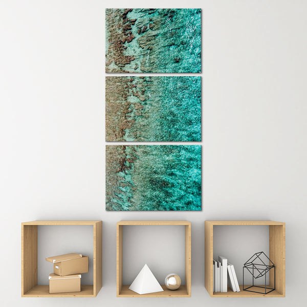 Maldives Breathtaking Crystal Ocean Multi Panel Canvas Wall Art